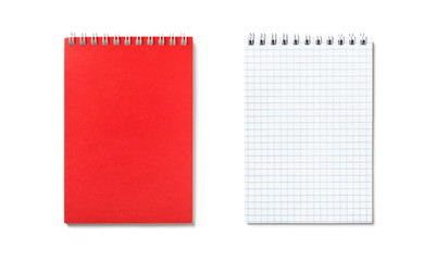 Red notepad with spiral binding isolated, top view. Open and closed version. Set office, double side.