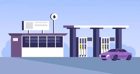 Gas station building with car parking. Vector flat cartoon graphic design illustration