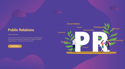 pr public relations concept with big text and people team for website template landing homepage - vector