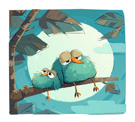 Chubby birds are resting on a branch.