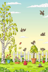 Wall Mural - Spring landscape with birds, flowers, trees and gardening tools.