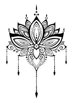 Lotus flower henna ornamental ethnic zen tangle  motif tattoo vector