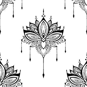 illustration mehendi Lotus flower henna ornamental ethnic zen tangle  motif tattoo seamless pattern vector black and white for printing