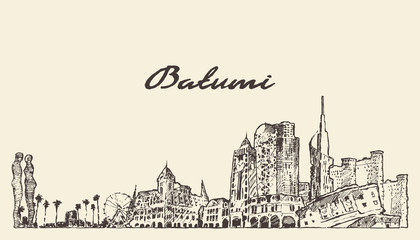 Wall Mural - Batumi skyline Georgia hand drawn vector sketch