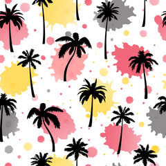 Seamless pattern, vector palm tree on blots.