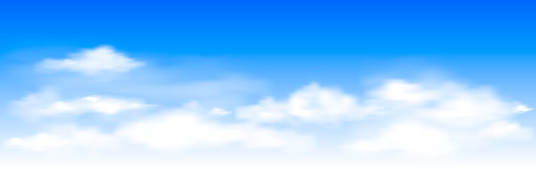 Blue sky with white clouds. White clouds on the blue sky. Abstract background with clouds on blue sky. In the clear sky high floating clouds Fototapete