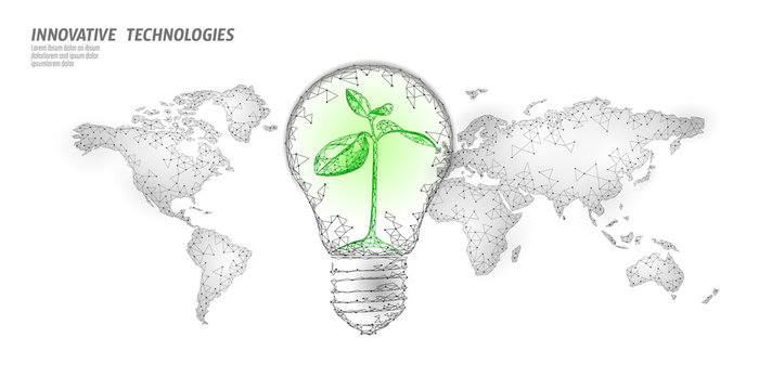 Light bulb with small plant on world map. Lamp saving energy ecology environment sprout idea concept. Polygonal light electricity green energy power seedling banner vector illustration