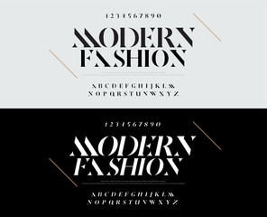 Elegant alphabet letters font set. Typography fashion fonts classic style, regular, italic uppercase and number. vector illustration