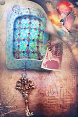 Paesaggio incantato e fiabesco con finestra gotica e misteriosa, francobollo e chiave