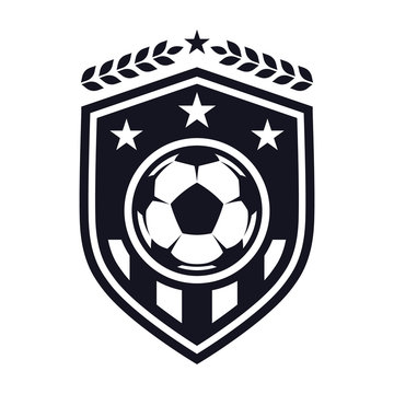Football flat icon, soccer ball, shield with stars and laurel wreath. Sport games. Vector illustration, isolated on white background. For design logo, emblem, symbol, sign, badge, label, stamp.