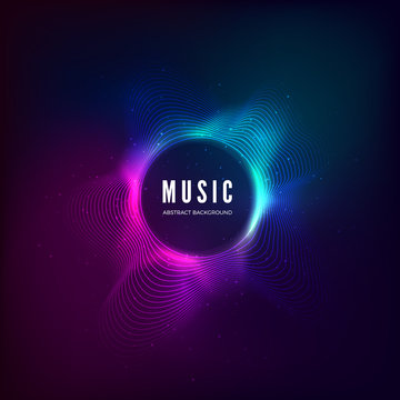 Radial sound wave curve with light particles. Colorful equalizer visualisation. Abstract colorful cover for music poster and banner. Vector illustration background