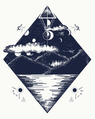 Mountain lake tattoo and t-shirt design. Mystical symbol of tourism, camping, travel and outdoor adventure. Lunar phases in night sky