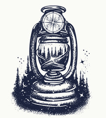 Kerosene lamp and night forest tattoo and t-shirt design. Symbol of tourism, camping, outdoors and travel