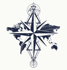 Azimuth compass and world map, tattoo and t-shirt design. Symbol of tourism, round world travel