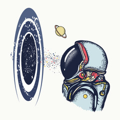 Astronaut and black hole color tattoo and t-shirt design. Symbol of knowledge, studying universe, science