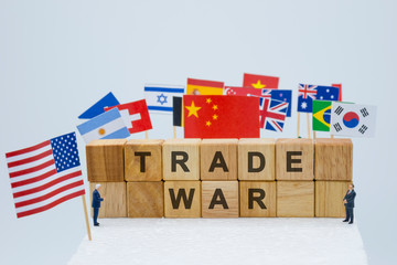 Trade war wording with USA China and multi countries flags. It is symbol of tariff trade war crisis or unfair business .-Image.