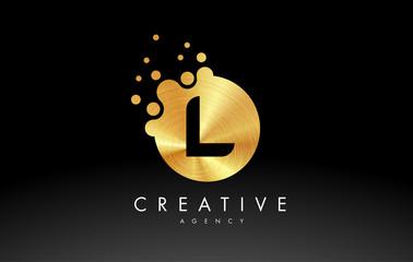 Golden Metal Letter L Logo. L Letter Design Vector