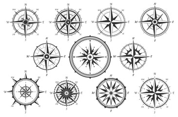 Wind rose. Map directions vintage compass. Ancient marine wind measure vector icons isolated. Isolated old sea or ocean navigation compass for ocean or marine retro cartography, boat or ship