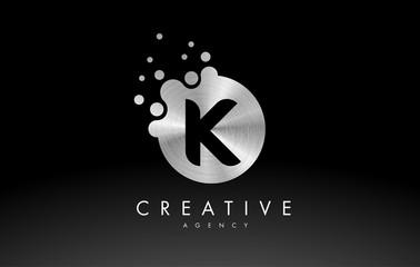 Silver Metal Letter K Logo. K Letter Design Vector