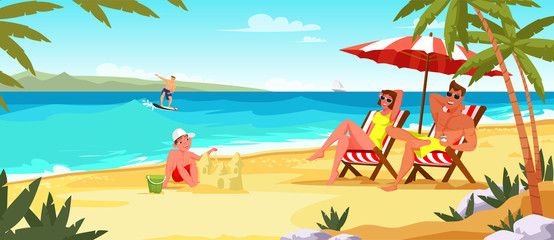 Family summer vacation flat vector illustration