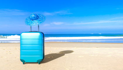 Suitcase with woman sun hat on sea beach. Travel baggage concept. Copy space. Holiday, rest, recreation, relaxation. 3D rendering illustration