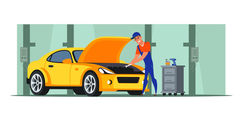 Car repair shop flat illustration