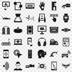 Internet adjustment icons set. Simple style of 36 internet adjustment vector icons for web for any design