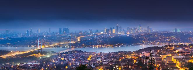 View of Bosphorus bridge at night Istanbul Wall mural