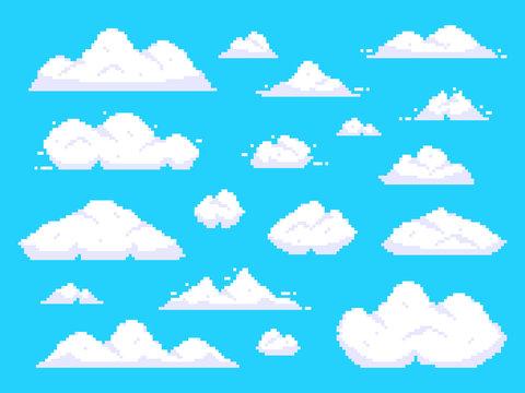 Pixel clouds. Retro 8 bit blue sky aerial cloud pixel art background vector illustration