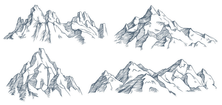 Mountains peak engraving. Vintage engraved sketch of valley with mountain landscape and old forest trees. vector illustration