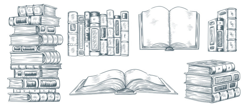 Hand drawing books. Drawn sketch of literature. School or college students library book illustration vector collection
