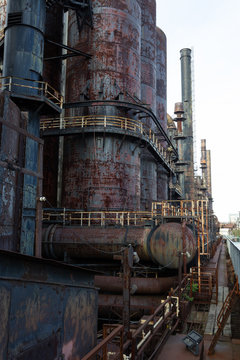 The Stacks Bethlehem Pennsylvania, old steel mill with rusted metal blast furnaces, horizontal aspect
