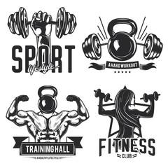 gym emblems, labels, badges, logos.
