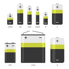 Alkaline battery different sizes icons set. Flat vector illustration isolated on white background