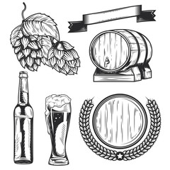 Set of beer's elements badges, logos, label