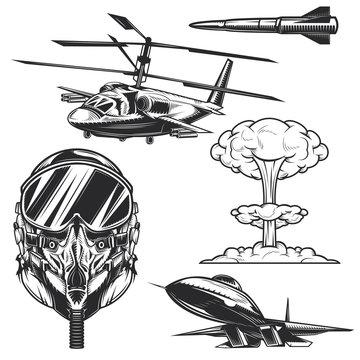 Set of aviation elements badges, logos, labels