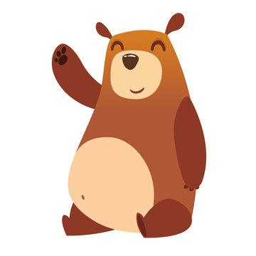 Happy cartoon bear. Vector illustration of brown bear isolated.