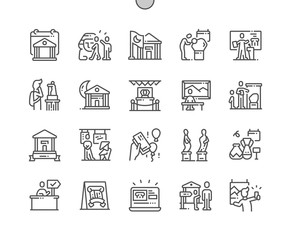 Obraz International Museum Day Well-crafted Pixel Perfect Vector Thin Line Icons 30 2x Grid for Web Graphics and Apps. Simple Minimal Pictogram - fototapety do salonu