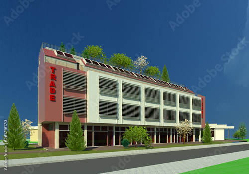 Comercial building 3D illustration 3  New architectural