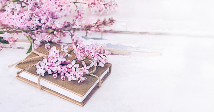 lilac flowers on white background. spring season. beautiful delicate background for spring style. lilac and  book on light background. closeup, soft selective focus, copy space