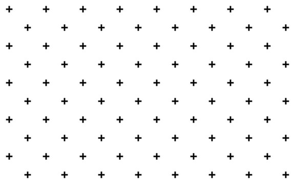 Crosses - pluses diagonally distributed simple minimalist decorative geometrical vector pattern