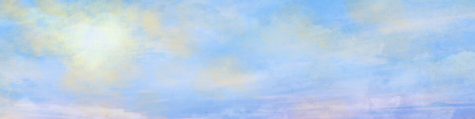 Sunny cloudy sky. Spring background. Happy Spring banner.Copy space.