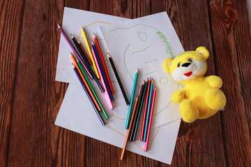 children's drawings and pencils