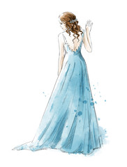 Bride. Young girl in a long dress, watercolor style