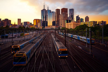 Wall Mural - Melbourne train staation with Melbourne city background