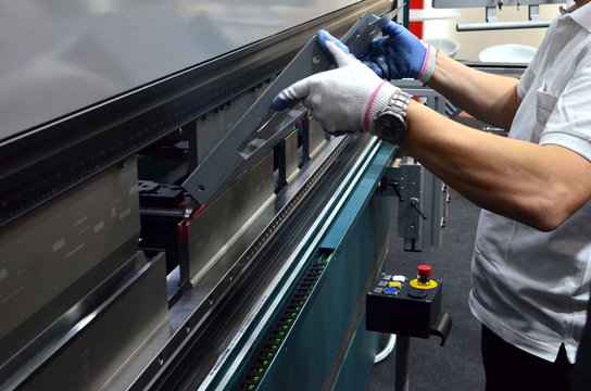 The process of bending sheet metal on a sheet bending machine