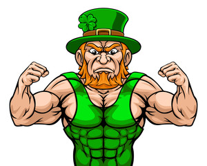 A tough leprechaun sports mascot cartoon character with fists up
