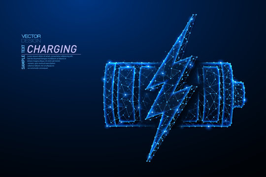 Abstract polygonal light design of battery with lightning symbol.