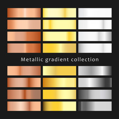 Set of different metals gradients. Collection of gold, bronze, silver and copper backgrounds. Vector illustration