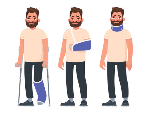 Set of sad character man with injuries. Fracture or dislocation of the leg, arm, neck damage